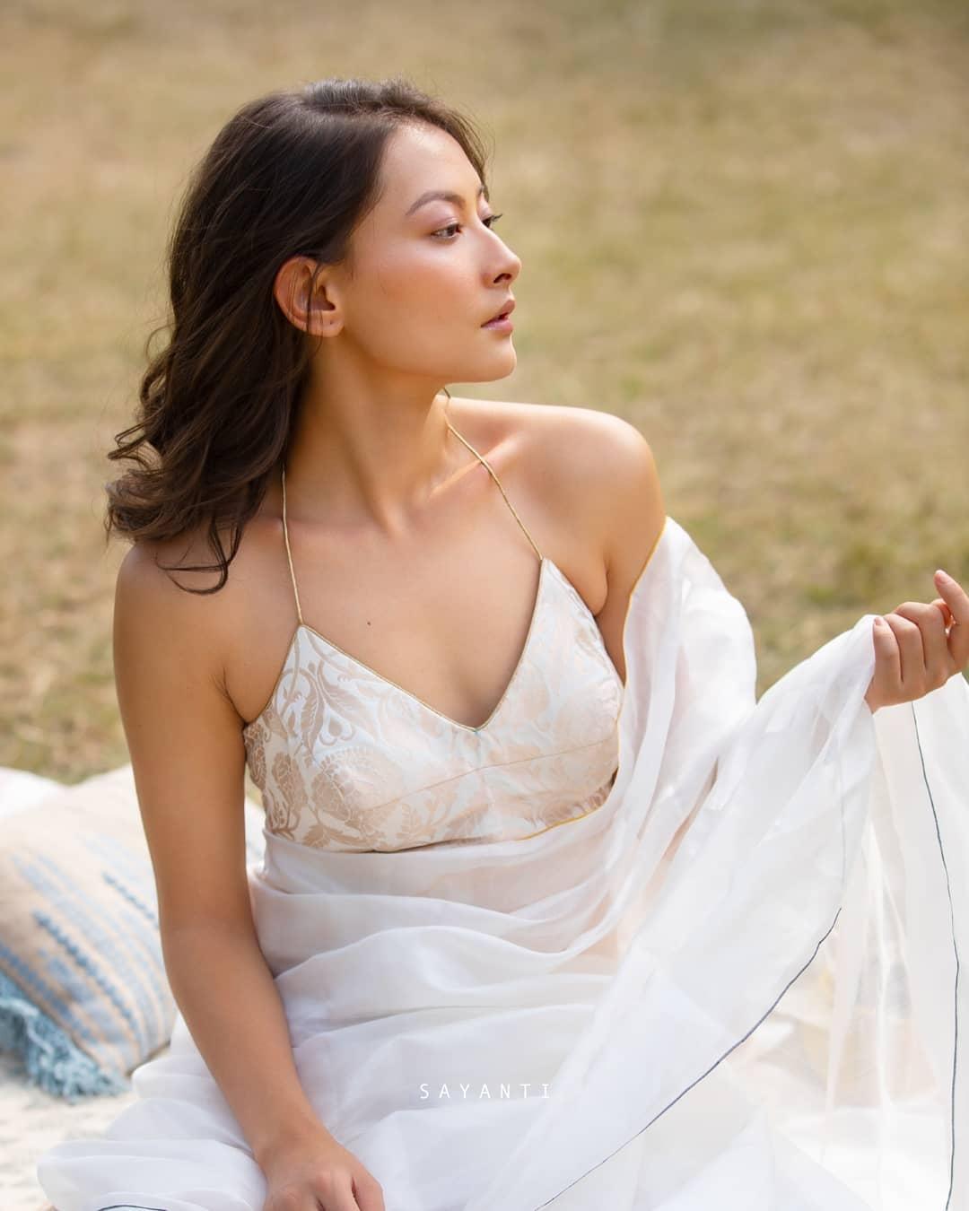 White brocade blouse-sayanti ghosh