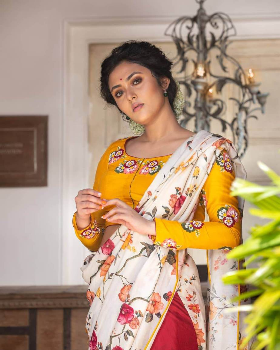 Yellow bunch flower embroidered silk blouse-Sayanti ghosh-1