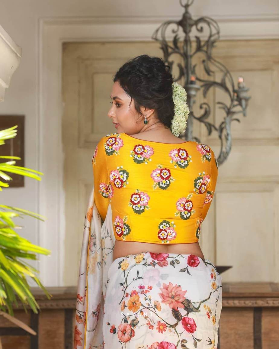 Yellow bunch flower embroidered silk blouse-Sayanti ghosh