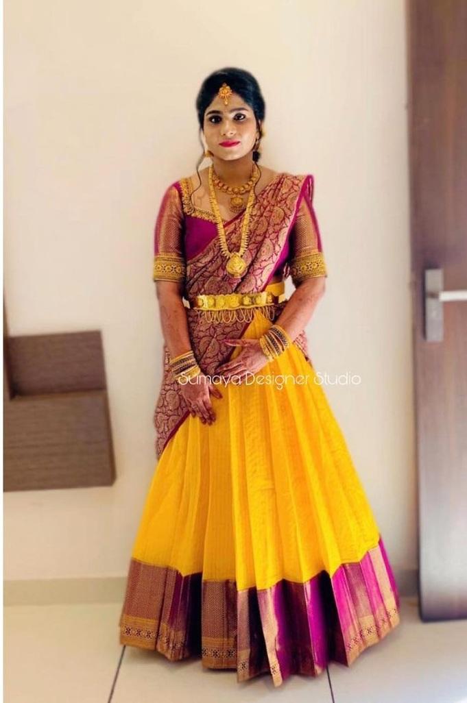 Yellow-maroon half saree-sumaya designer-1