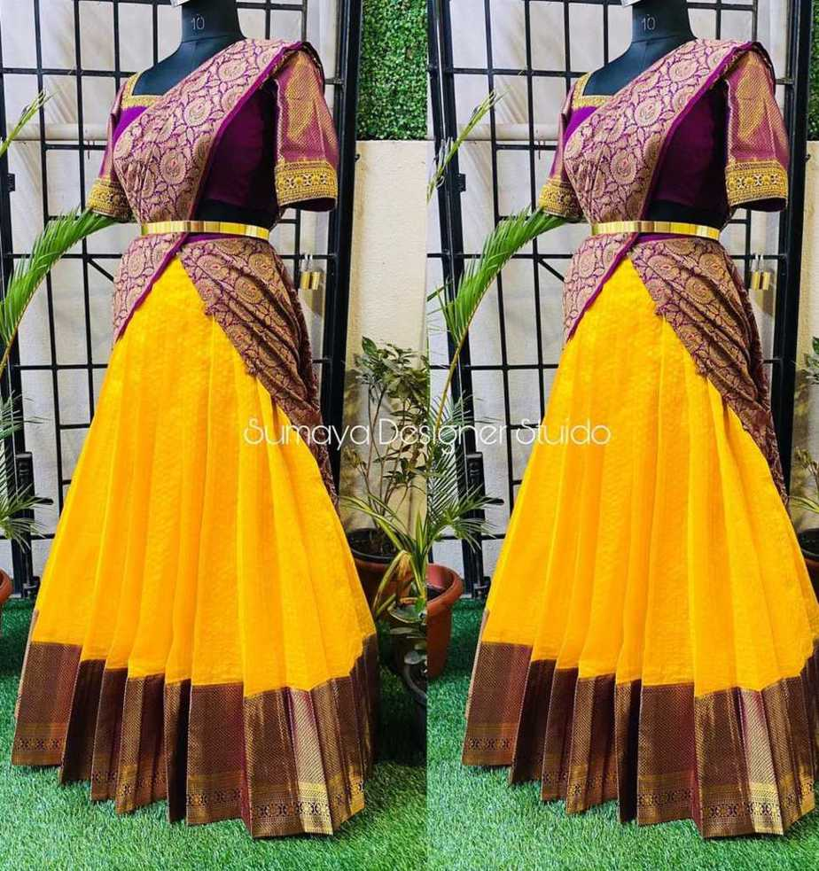 Yellow-maroon half saree-sumaya designer