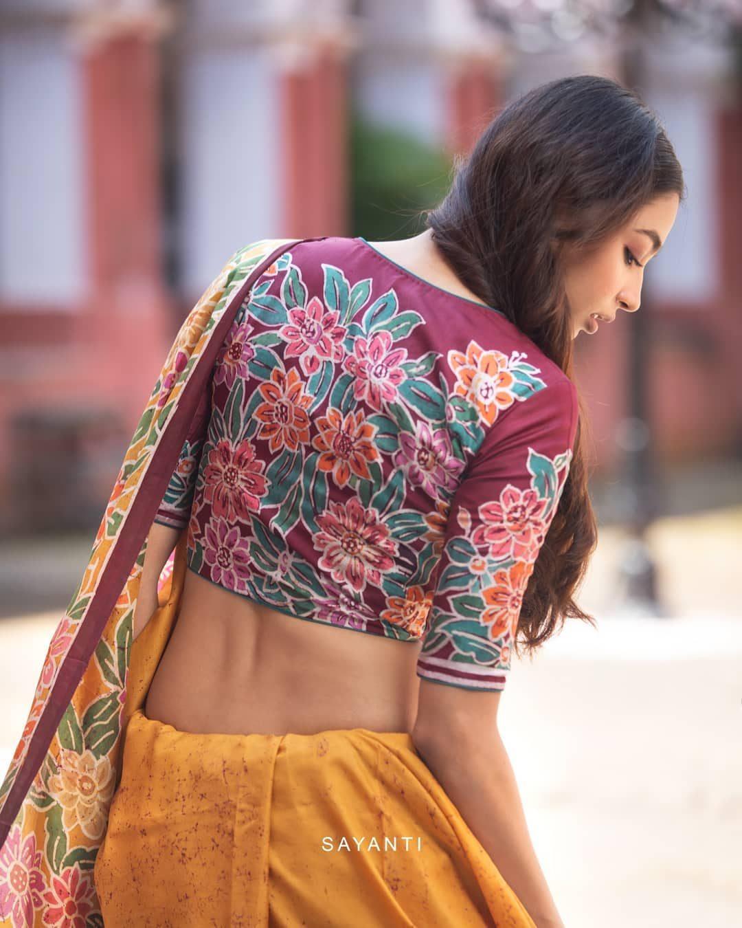 batik painted maroon blouse with yellow saree-1