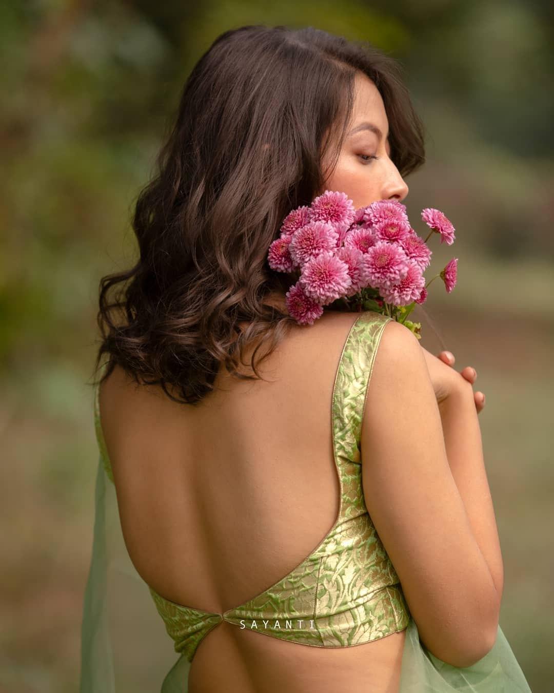 green brocade blouse-sayanti Ghosh