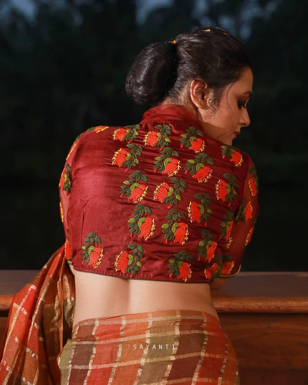 orange vine trumpet blouse-Sayanti Ghosh