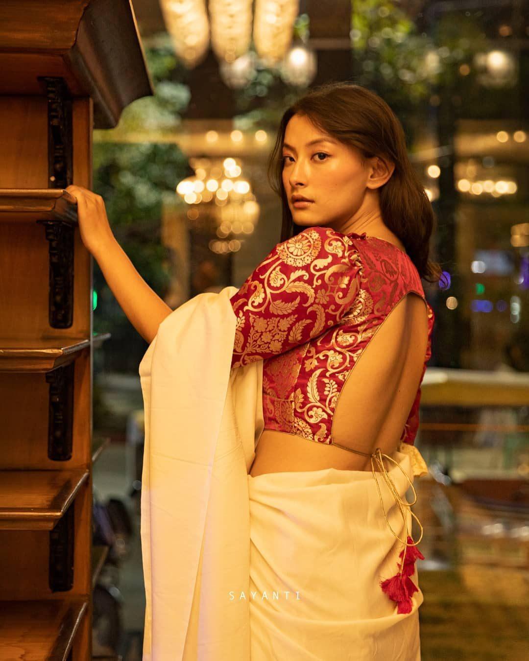 pink friiled sleeeve brocade blosue-Sayanti blouse-1