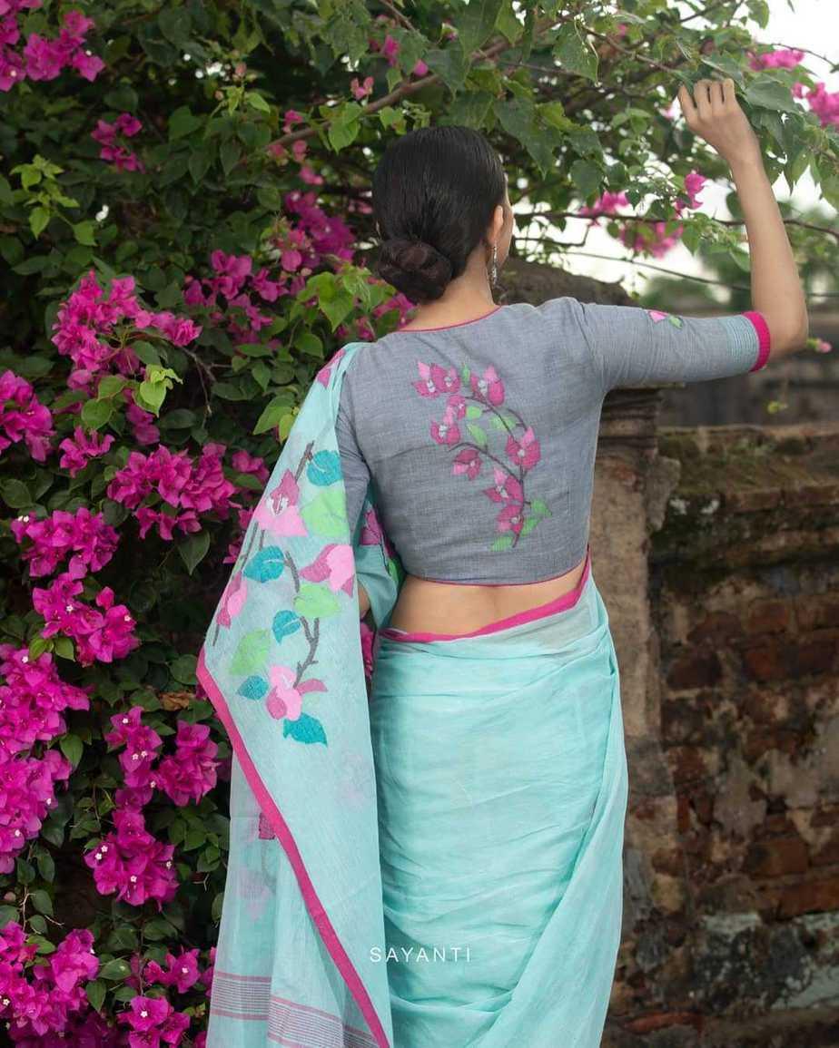 powder blue saree blouse-Kagaj ke phool byu Sayanti Ghosh designer studio-1