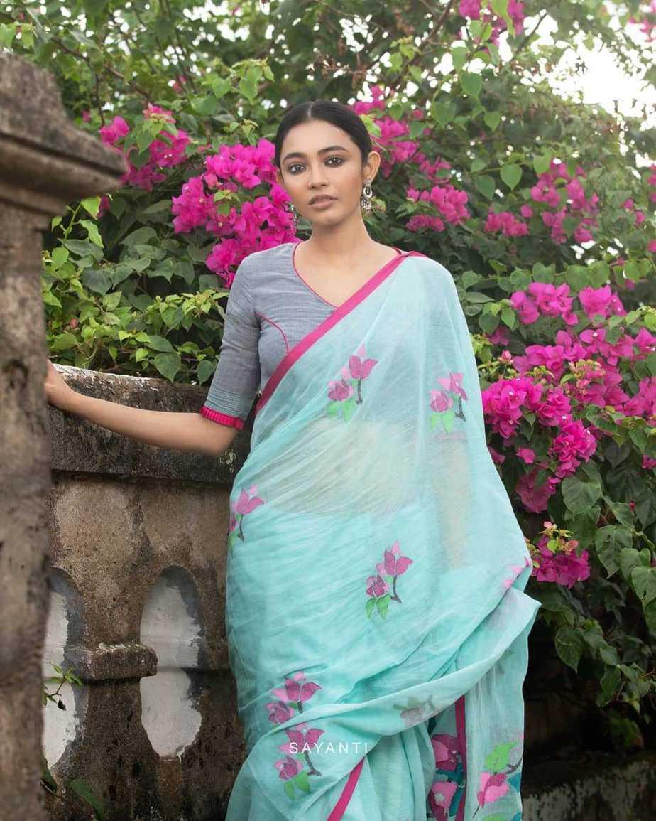 powder blue saree blouse-Kagaj ke phool byu Sayanti Ghosh designer studio-2