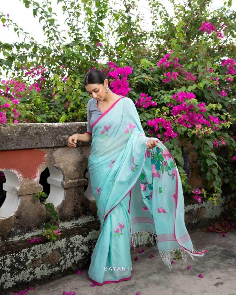 powder blue saree blouse-Kagaj ke phool byu Sayanti Ghosh designer studio