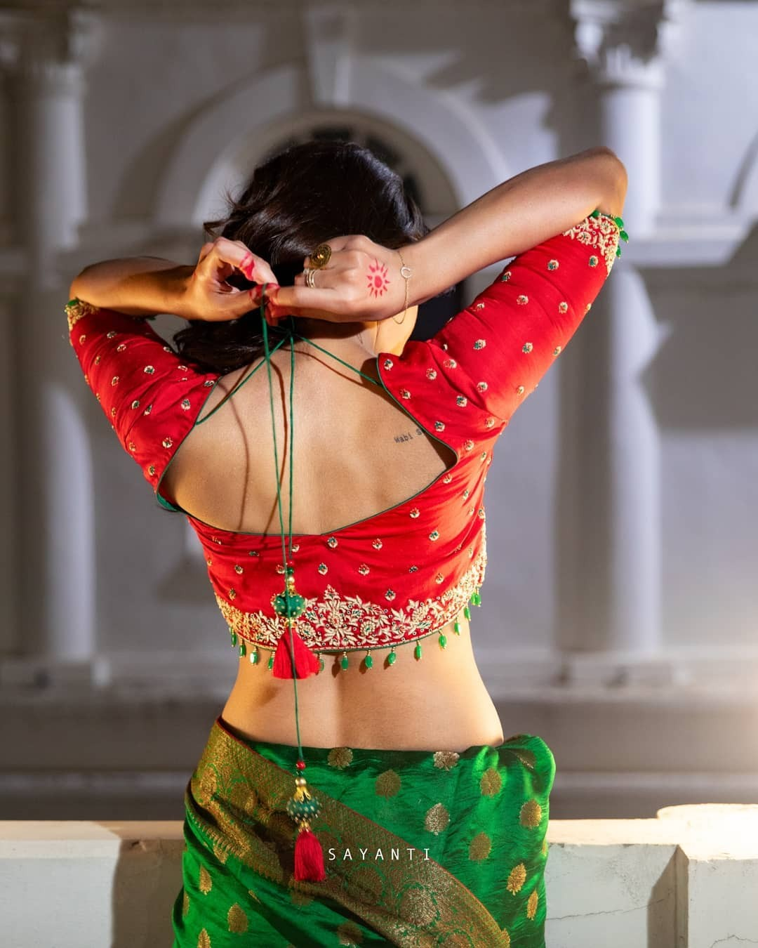 rED BLOUSE WITH SILVER ZARI-Sayanti Ghosh