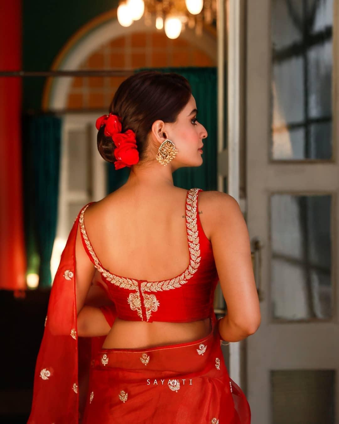 red zari work blouse-Sayanti Ghosh-1