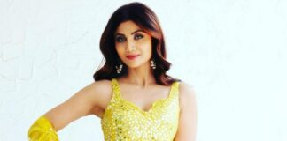 shilpa shetty in yellow mirrored outfit from seema gujral