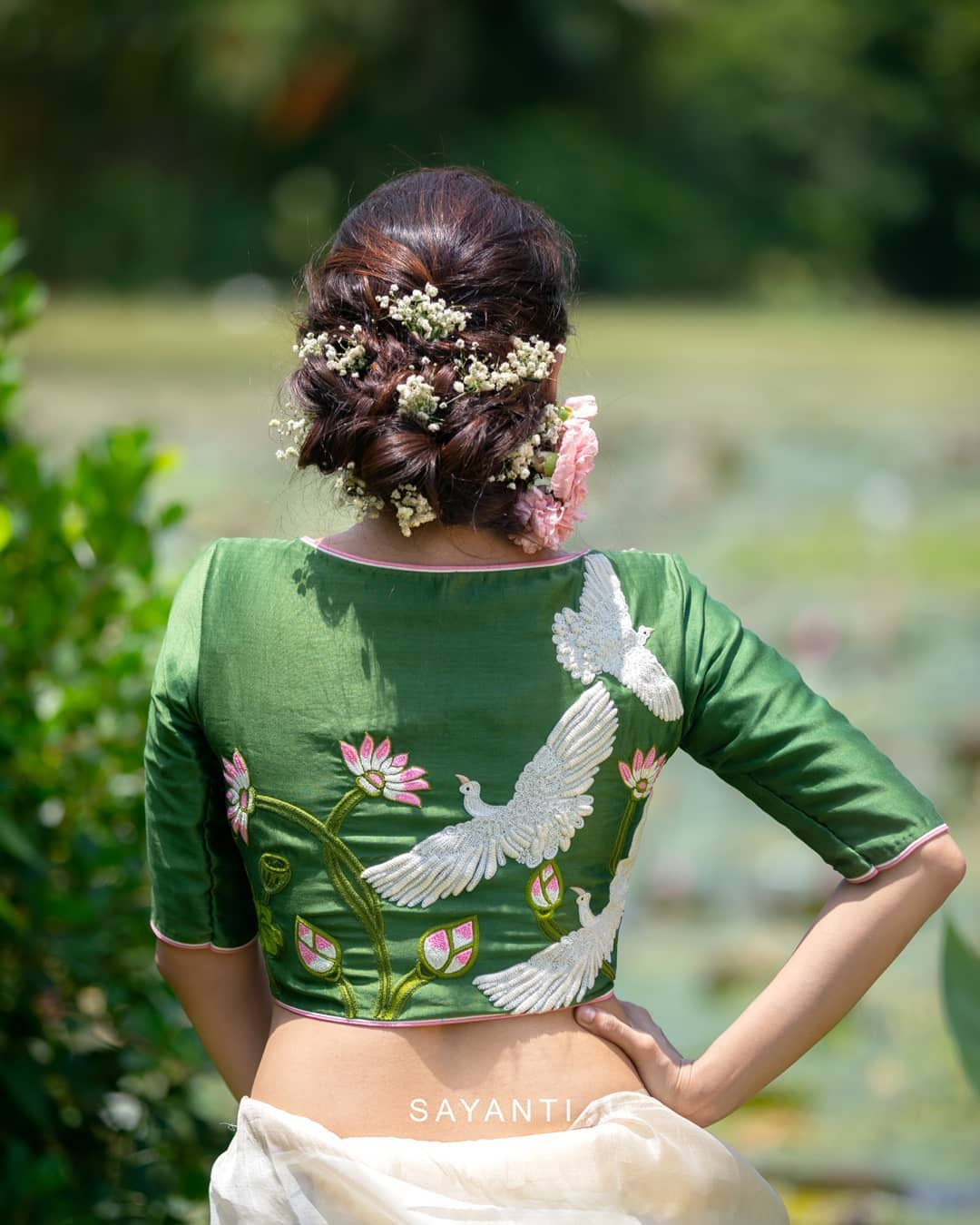 swan embroidery blouse-Sayanti Ghosh-1