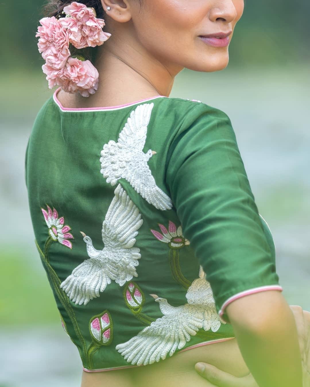 swan embroidery blouse-Sayanti Ghosh