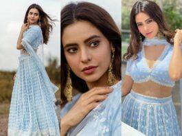 Aamna sharif in a mulmul light blue lehenga-faetured