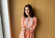 Kajal aggarwal in peach anita dongre kurta set