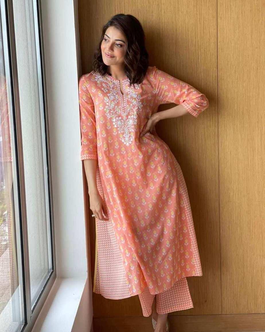 Kajal aggarwal in peach anita dongre kurta set-4