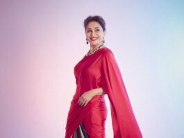 Madhuri Dixit in Kshitij Jalori saree for dance deewane-1
