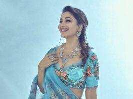 Madhuri Dixit in blue torani lehenga for dance deewane-4