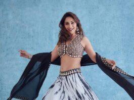 Madhuri Dixit in reeti arneja black-white lehenga for dance dewane-1
