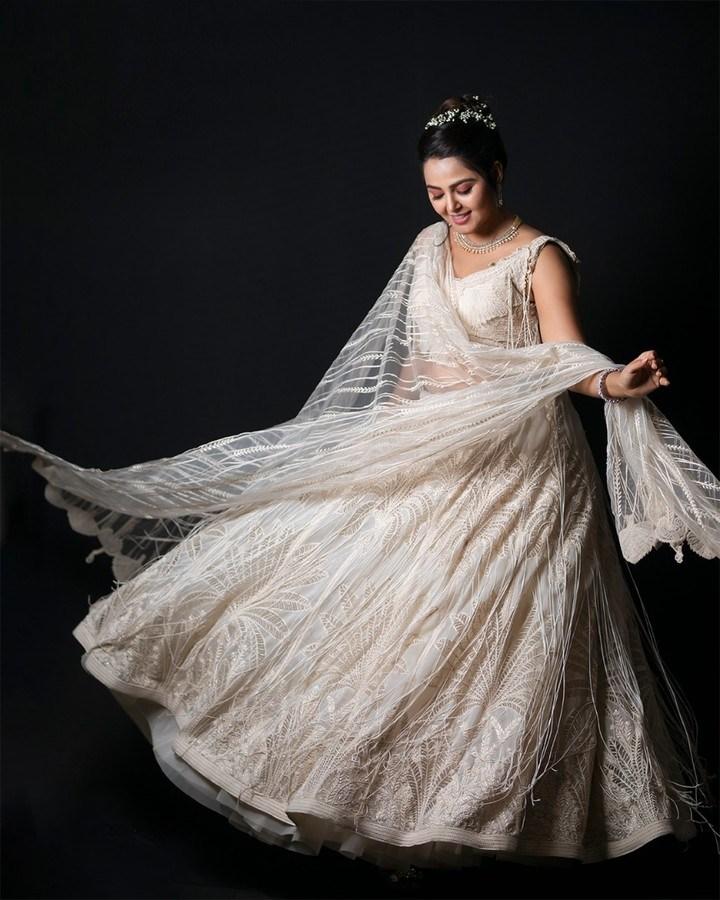 Monal Gajjar in white lehnga by Abhishek studio