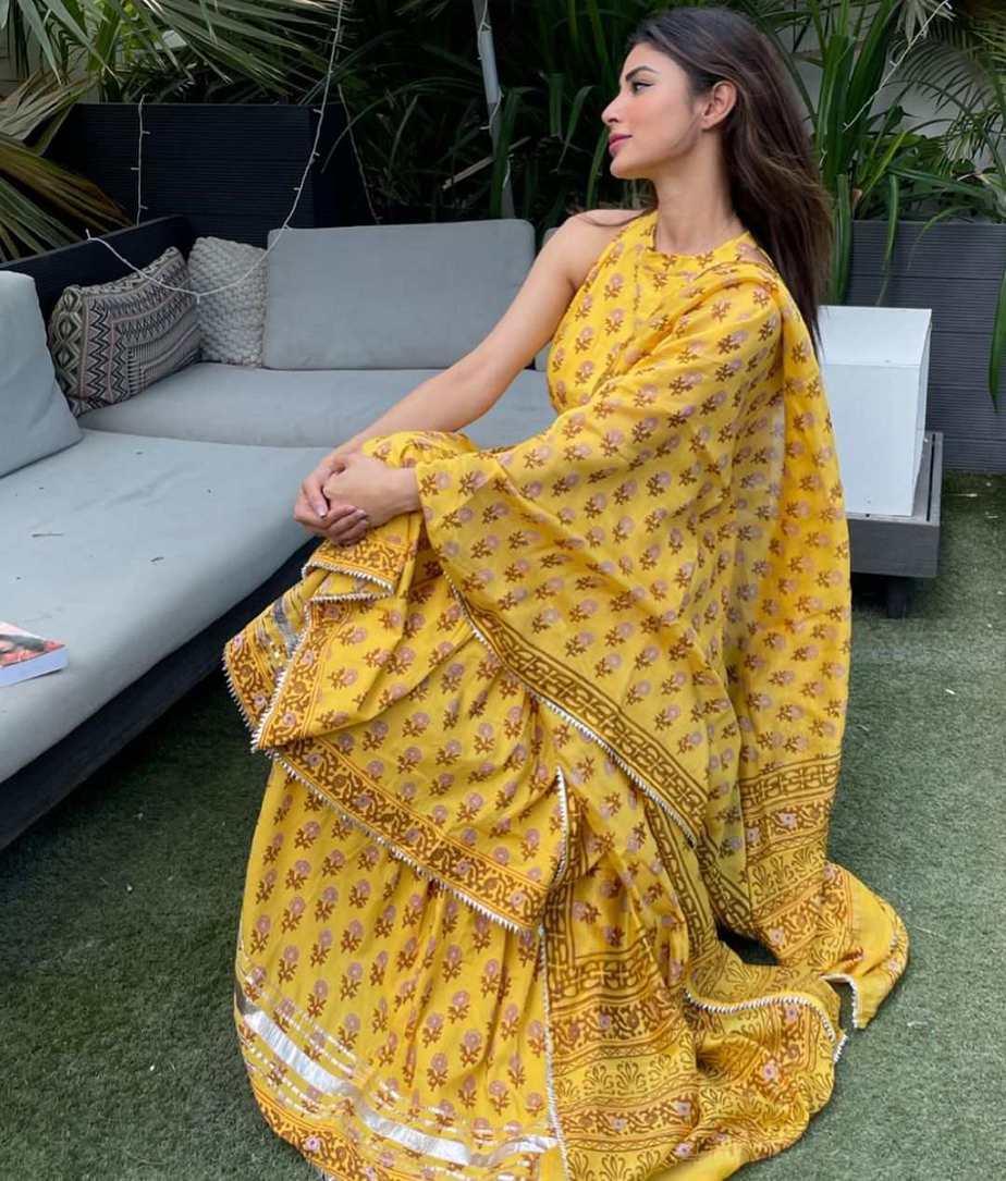 Mouni Roy in yellow sharara set by Aachho-1