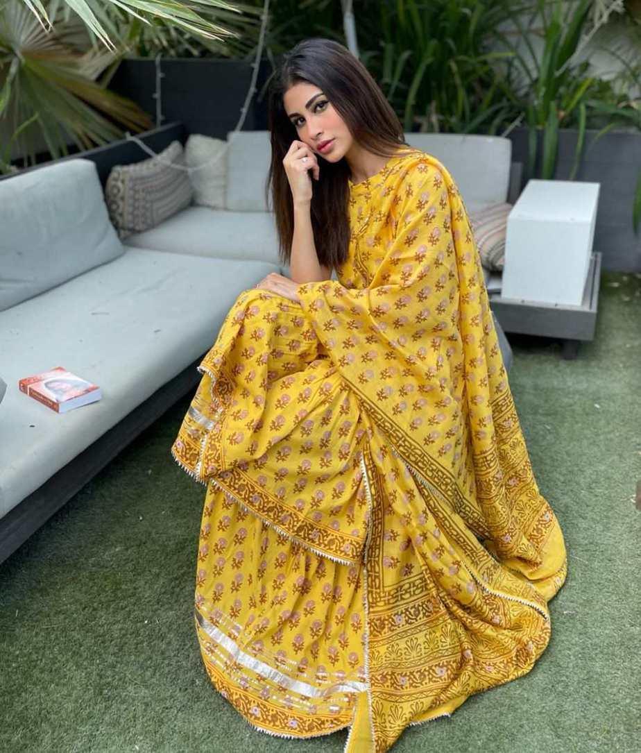 Mouni Roy in yellow sharara set by Aachho
