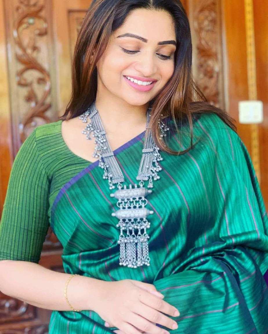 Nakshathra Nagesh in green saree by Shain-1