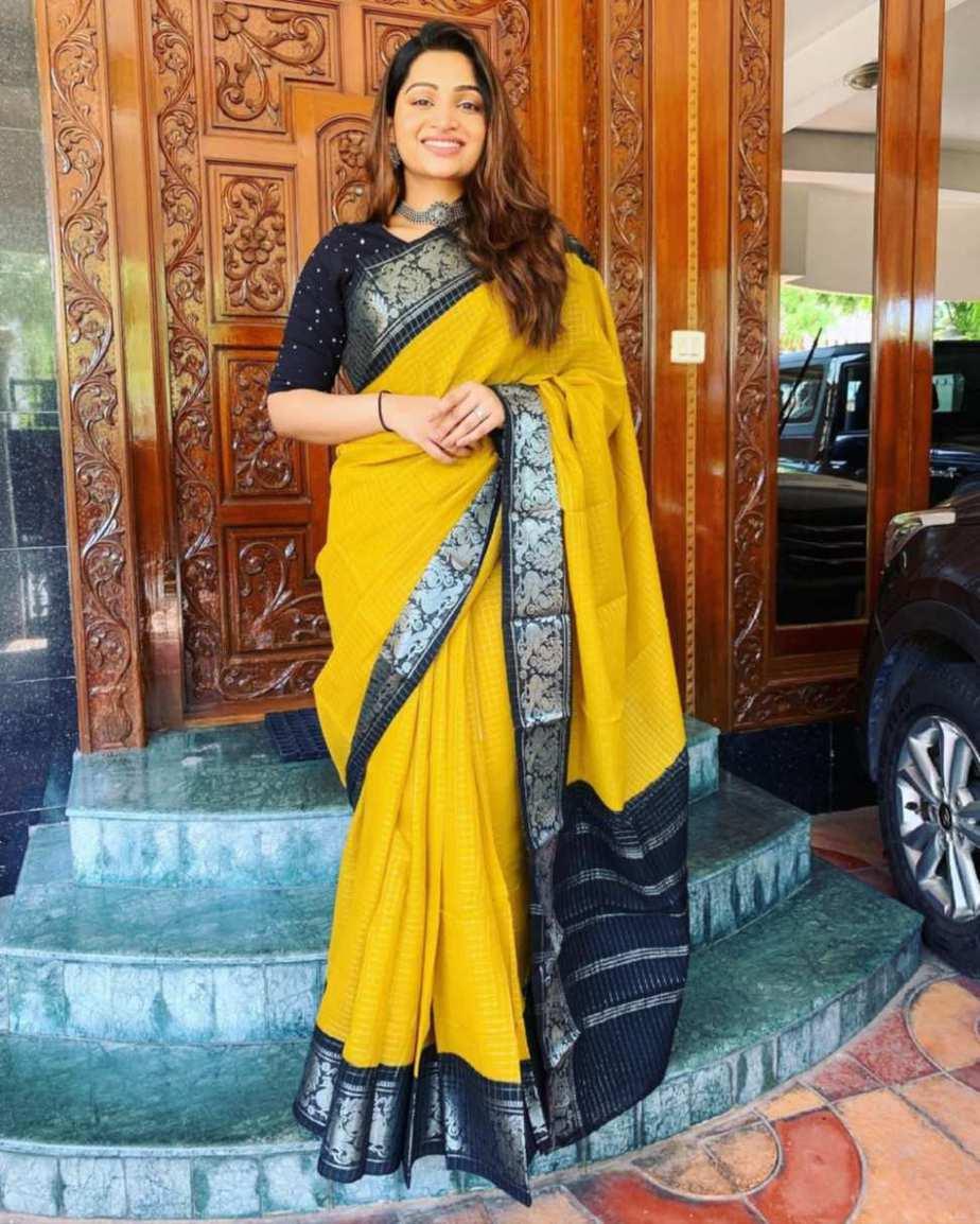 Nakshathra Nagesh in yellow saree by aishwaryam textiles-1