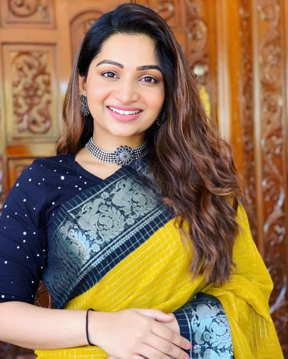 Nakshathra Nagesh in yellow saree by aishwaryam textiles-3