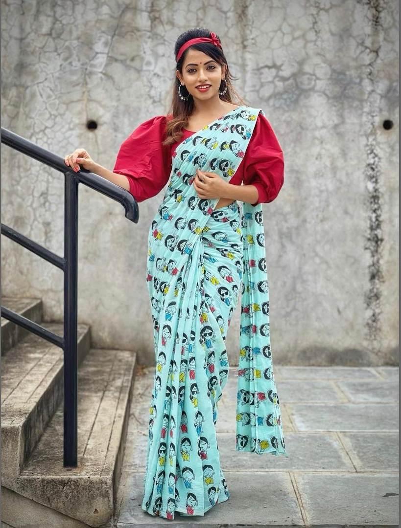 Navya swamy in sky blue saree by Riya designing studio-1
