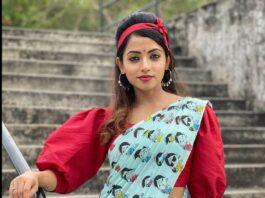 Navya swamy in sky blue saree by Riya designing studio