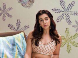 Nikki galrani in tifara and sva couture lehnga cape set-1