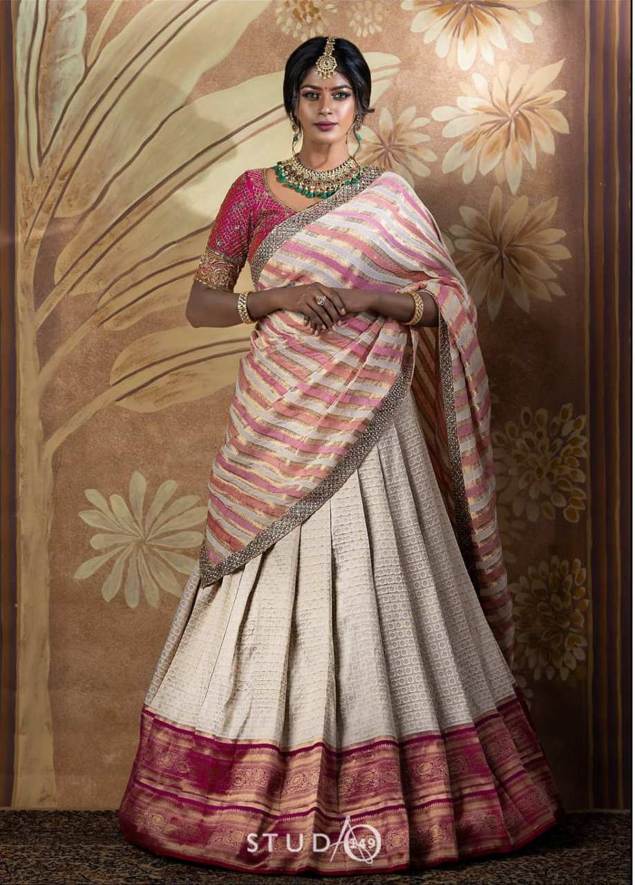 Pink and off white half saree by studio149-1