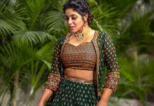 Poorna in a green lehenga set by Preesha-1