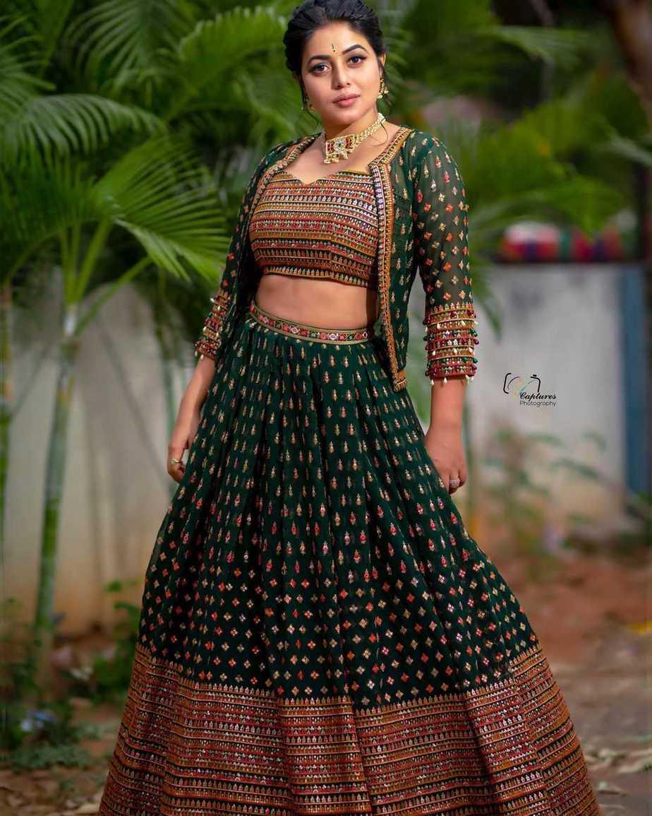 Poorna in a green lehenga set by Preesha-2