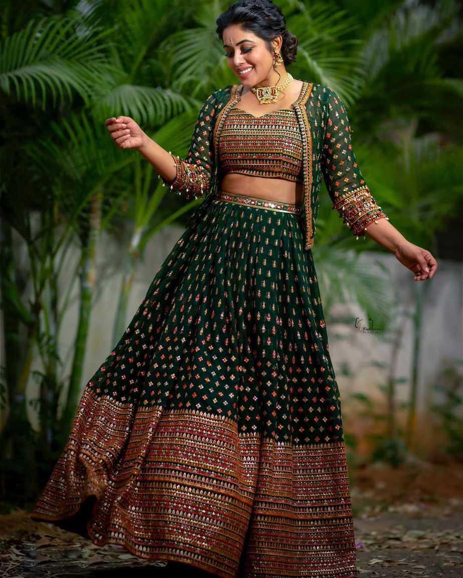 Poorna in a green lehenga set by Preesha
