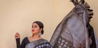 Poorna in black saree by dithya sai fashions for dhee kings