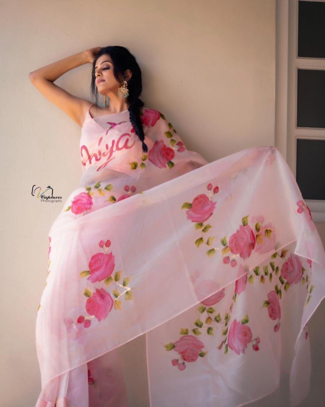 Priya mani raj in picchika saree for dhee kings-1