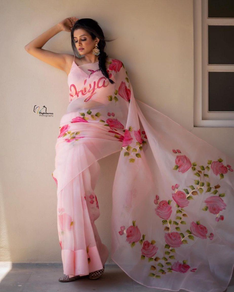 Priya mani raj in picchika saree for dhee kings