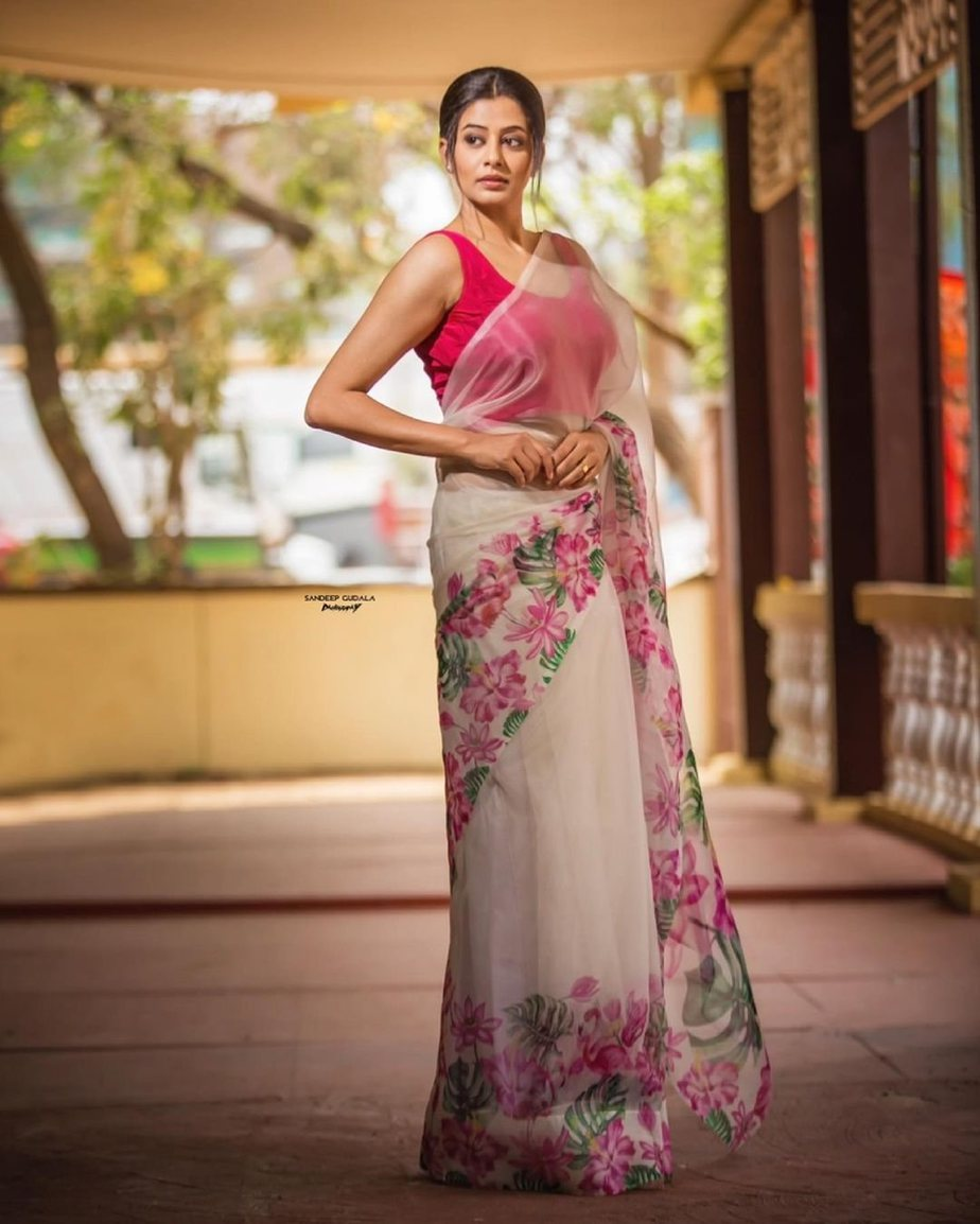 Priyamani in a saree by Rubab for Dhee kings Wild card episode-2