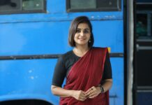 Ramya Nambessan in maroon saree and black blouse-1