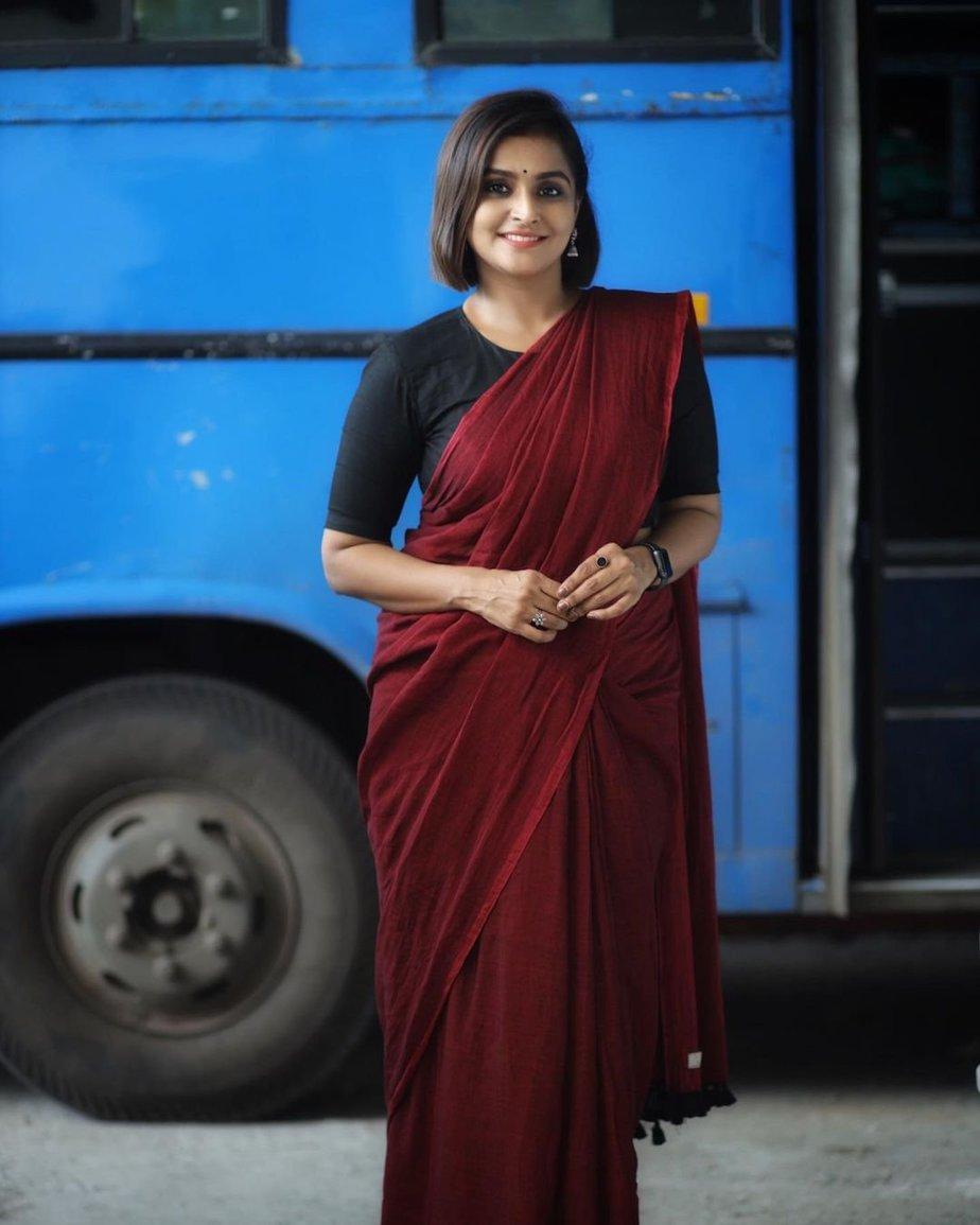 Ramya Nambessan in maroon saree and black blouse-2