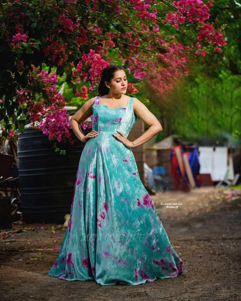 Rashmi Gautam in an aqua velvet gown by Duta Couture-3