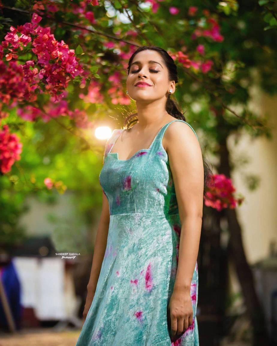 Rashmi Gautam in an aqua velvet gown by Duta Couture-4
