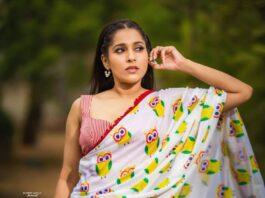 Rashmi Gautam in owl print saree by shrutii clothing