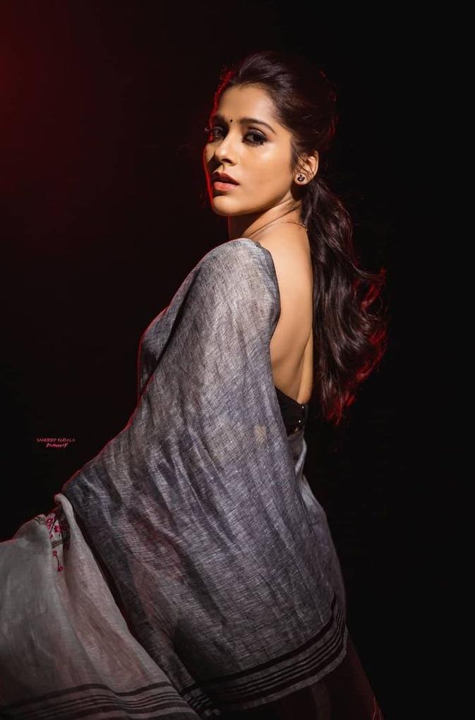 Rashmi Gautam in the linen store saree for dhee kings-3