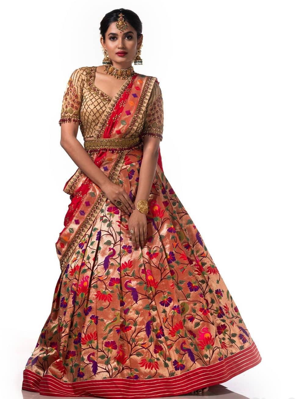 Red-gold paithani half saree by Studio149-1