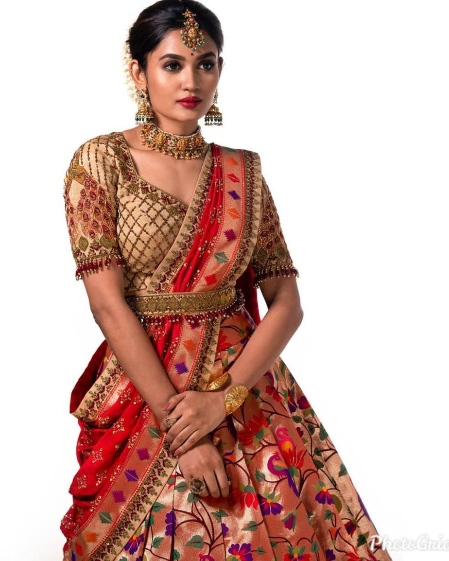 Red-gold paithani half saree by Studio149