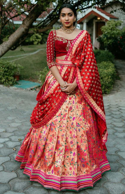 Red paithani half saree with belt by studio 149-1