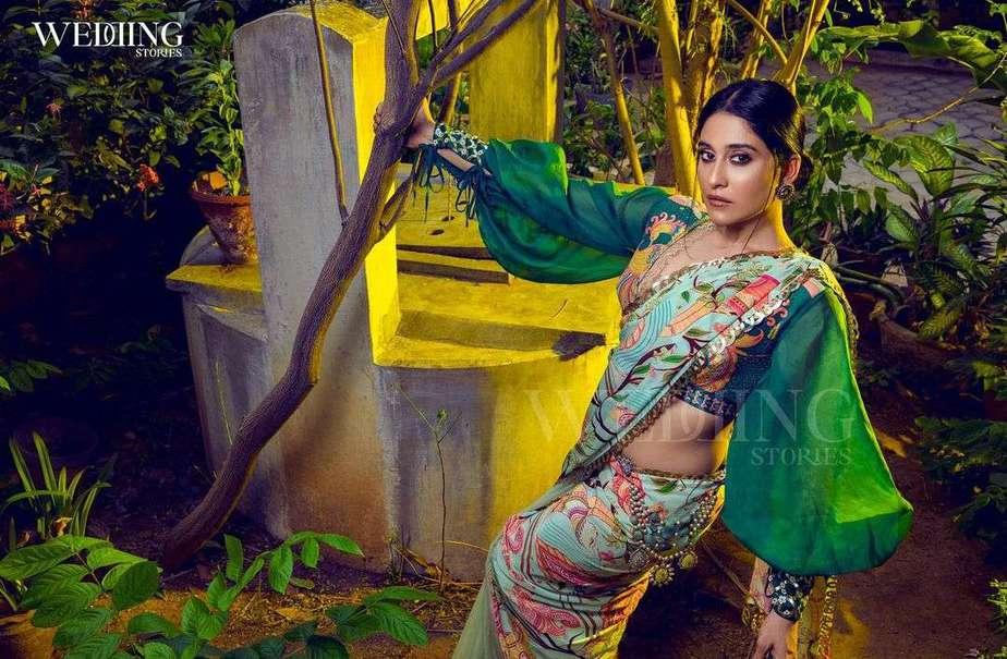 Regina cassandra in pastel green saree by limerick for wedding magazine-1
